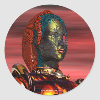 ARES CYBORG PORTRAIT Red Science Fiction Sci-Fi Classic Round Sticker