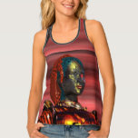 ARES CYBORG PORTRAIT Red Science Fiction Sci-Fi Tank Top