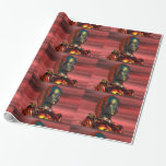 ARES CYBORG PORTRAIT Red Science Fiction Sci-Fi Wrapping Paper