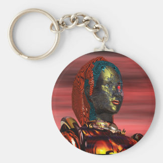 ARES - CYBORG PORTRAIT,RED SUNSET Science Fiction Basic Round Button Keychain