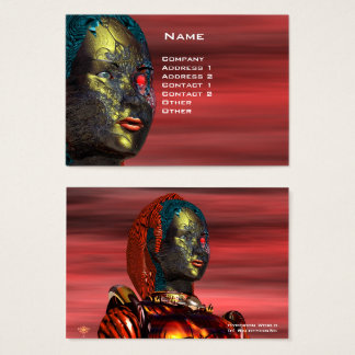 ARES CYBORG PORTRAIT , Red Yellow Science Fiction Business Card