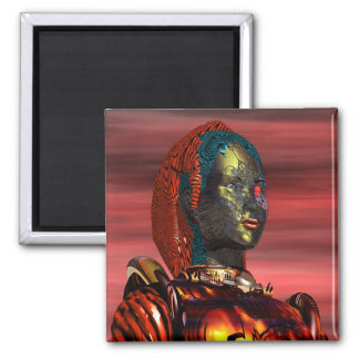 ARES - CYBORG PORTRAIT Science Fiction, Sci-Fi 2 Inch Square Magnet