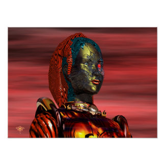 ARES CYBORG PORTRAIT,SUNSET Science Fiction,Scifi Poster