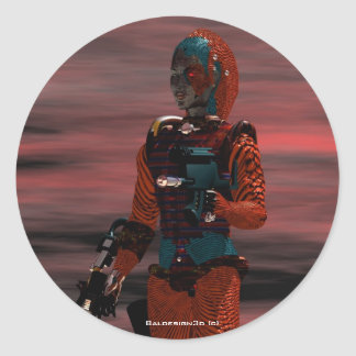 ARES CYBORG Red Sunset Science Fiction,Sci-Fi Classic Round Sticker
