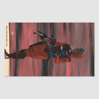 ARES CYBORG Red Sunset Science Fiction,Sci-Fi Rectangular Sticker