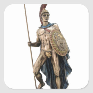 ARES GREEK WARRIOR GOD STATUE SQUARE STICKER