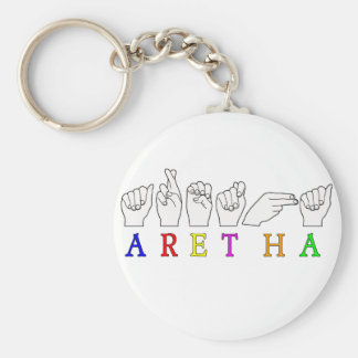 ARETHA FINGERSPELLED ASL SIGN NAME FEMALE KEYCHAINS