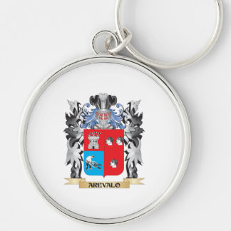 Arevalo Coat of Arms - Family Crest Silver-Colored Round Keychain