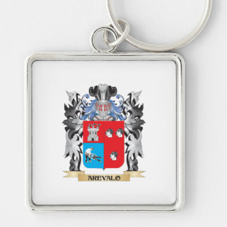 Arevalo Coat of Arms - Family Crest Silver-Colored Square Keychain
