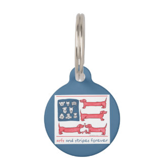 Arfs & Stripes Forever Blue Round Pet Tag