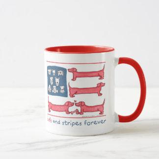 Arfs & Stripes Forever Red 11 oz Ringer Mug
