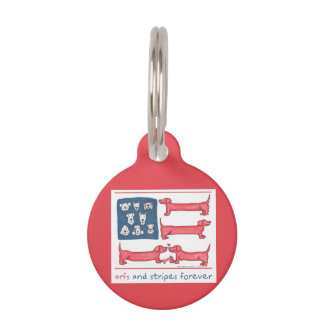 Arfs & Stripes Forever Red Round Pet Tag