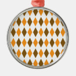 [ARG-BRO-1] Brown and orange retro argyle Ornaments