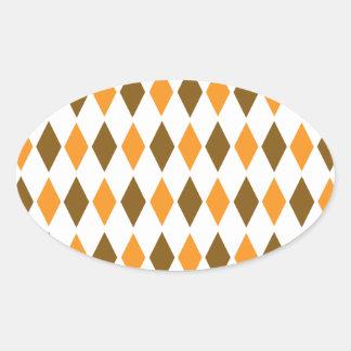 [ARG-BRO-1] Brown and orange retro argyle Oval Sticker