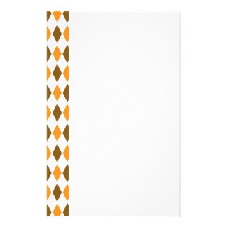 [ARG-BRO-1] Brown and orange retro argyle Personalized Stationery