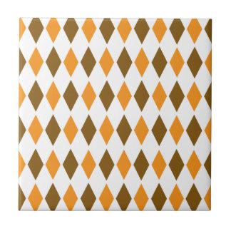 [ARG-BRO-1] Brown y argyle retro anaranjado Azulejo Cuadrado Pequeño