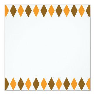 """[ARG-BRO-1] Brown y argyle retro anaranjado Invitación 5.25"""" X 5.25"""""""