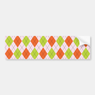 [ARG-GR-OR-1] Green and orange argyle Bumper Sticker
