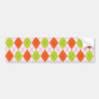 [ARG-GR-OR-1] Green and orange argyle Bumper Sticker