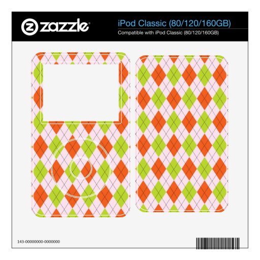 [ARG-GR-OR-1] Green and orange argyle Skin For iPod Classic