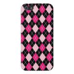 [ARG-PINK-1] Argyle rosado y negro iPhone 5 Carcasas