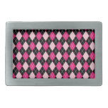 [ARG-PINK-1] Argyle rosado y negro Hebilla Cinturón