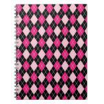 [ARG-PINK-1] Argyle rosado y negro Libro De Apuntes
