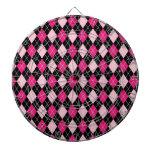 [ARG-PINK-1] Argyle rosado y negro Tabla Dardos
