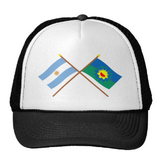Argentina and Buenos Aires Crossed Flags Mesh Hats