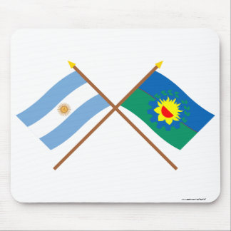 Argentina and Buenos Aires Crossed Flags Mouse Pad