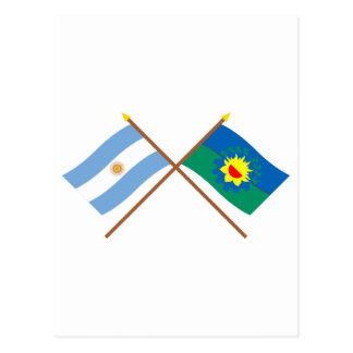 Argentina and Buenos Aires Crossed Flags Postcards