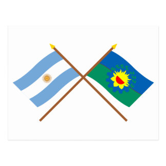Argentina and Buenos Aires Crossed Flags Postcard