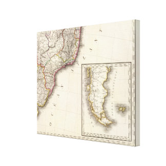 Argentina and Chile Engraved Map Canvas Print