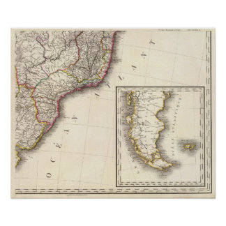 Argentina and Chile Engraved Map Poster
