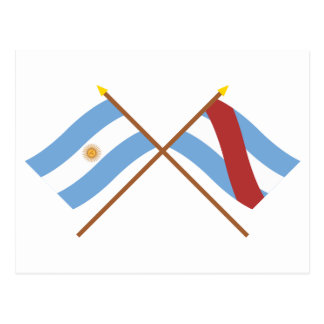 Argentina and Entre Ríos Crossed Flags Postcard