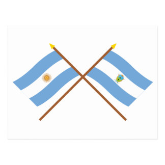 Argentina and La Pampa Crossed Flags Postcard
