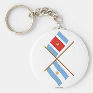 Argentina and Santiago del Estero Crossed Flags Basic Round Button Keychain