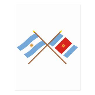 Argentina and Santiago del Estero Crossed Flags Postcard