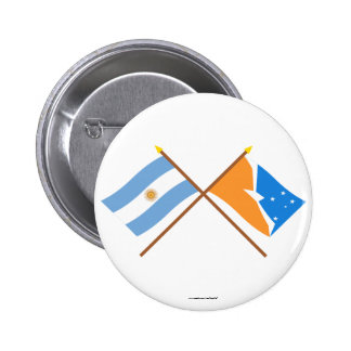 Argentina and Tierra del Fuego Crossed Flags Pinback Button