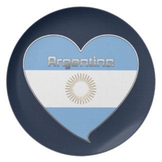 ARGENTINA bandera y corazón de colores argentinos Platos De Comidas