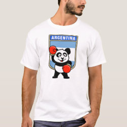 Men's Basic T-Shirt with Argentina Boxing Panda design