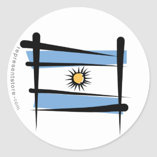Argentina Brush Flag Classic Round Sticker