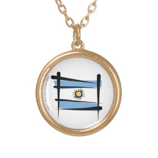 Argentina Brush Flag Gold Plated Necklace