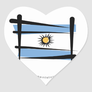 Argentina Brush Flag Heart Sticker