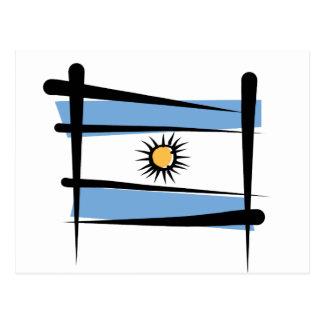 Argentina Brush Flag Postcard
