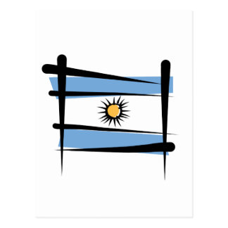 Argentina Brush Flag Postcard