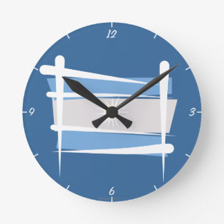 Argentina Brush Flag Round Clock