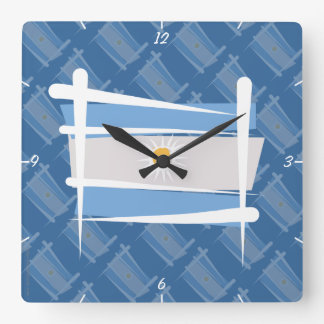 Argentina Brush Flag Square Wall Clock