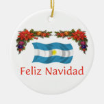 Argentina Christmas Double-Sided Ceramic Round Christmas Ornament