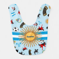 Argentina- country flag with famous items baby bib